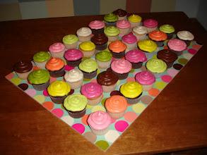 Photo: Multi-colored Cupcakes