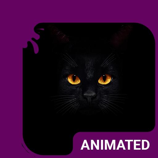 Dark Cat Animated Keyboard + Live Wallpaper