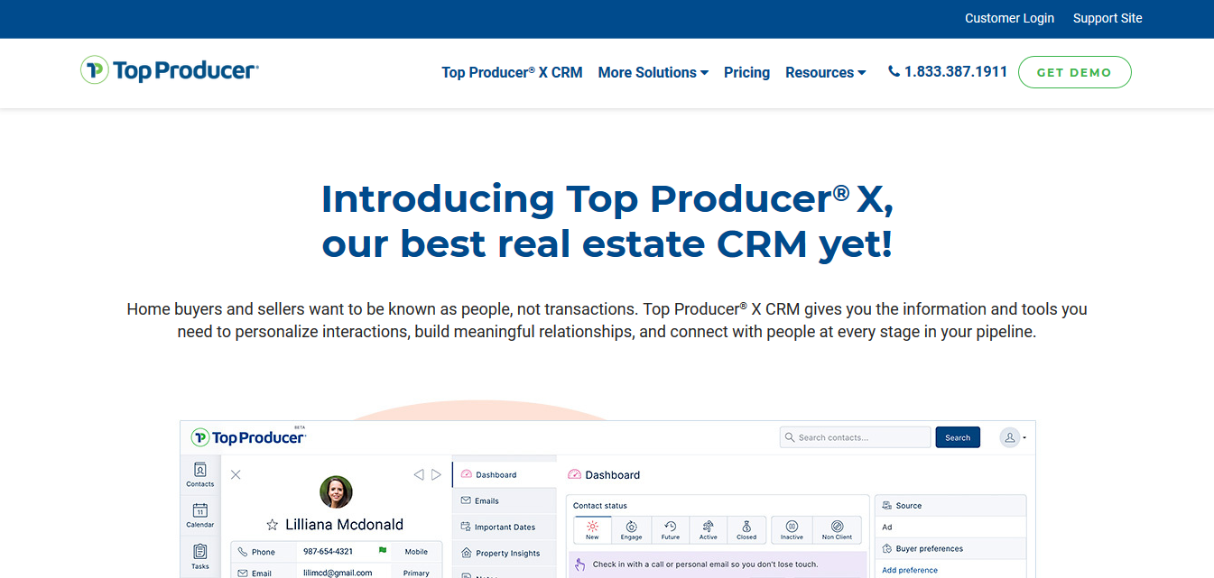 Top Producer CRM for real estate