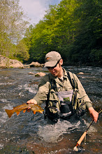 Photo: Jim with a nice Brown caught in the pocket water
