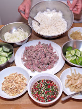 Photo: prepared ingredients for naem fried rice