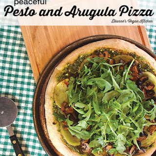 Peaceful Potato, Pesto, and Arugula Pizza.