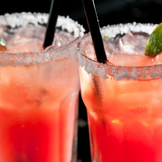 Strawberry-Basil Infused Margarita Rimmed with Sriracha Salt Recipe