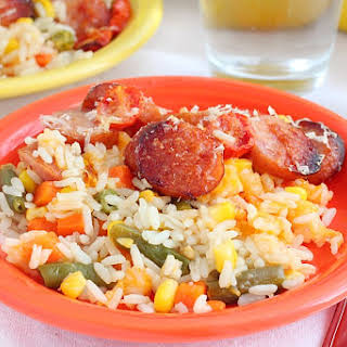 Easy Rice, Vegetables And Sausage Casserole.