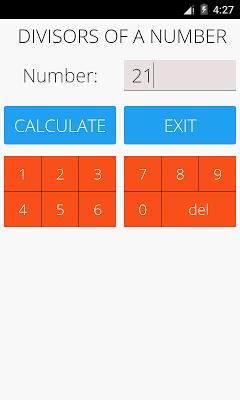 Divisors of a Number - screenshot