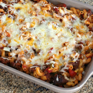 American Chop Suey Casserole With Cheese Topping.