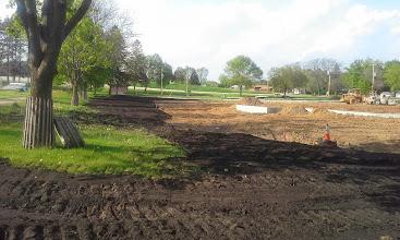 Photo: Restoration along 3rd base foul area 05-20-2014
