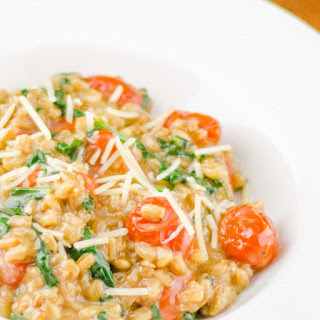 Farro Risotto with Roasted Tomatoes and Spinach