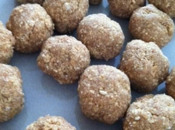 make small balls about 1- 1 1/2 inches wide. Line up on wax paper...