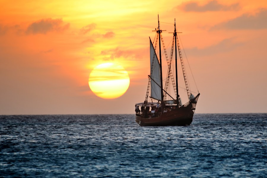 Sailing ship by Raul Behr - Transportation Boats ( sailing, aruba, ship, sun )