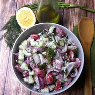 Cucumber Tomato Salad with Dill Yogurt Dressing
