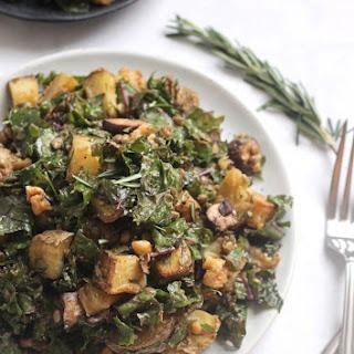 Rosemary Roasted Potato, Mushroom, and Lentil Kale Salad.