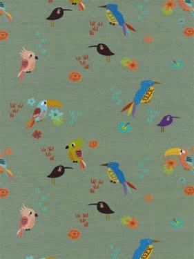 Jersey m Fåglar Digital Print