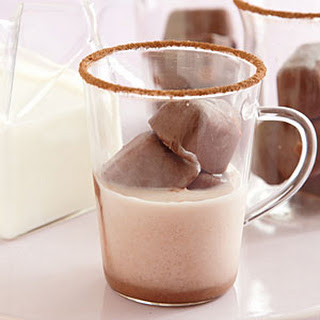 Milk with Hot Chocolate Ice Cubes