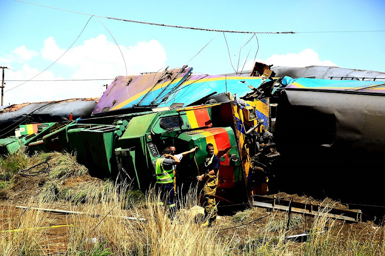 The Shosholoza Meyl train after hitting two other vehicles.