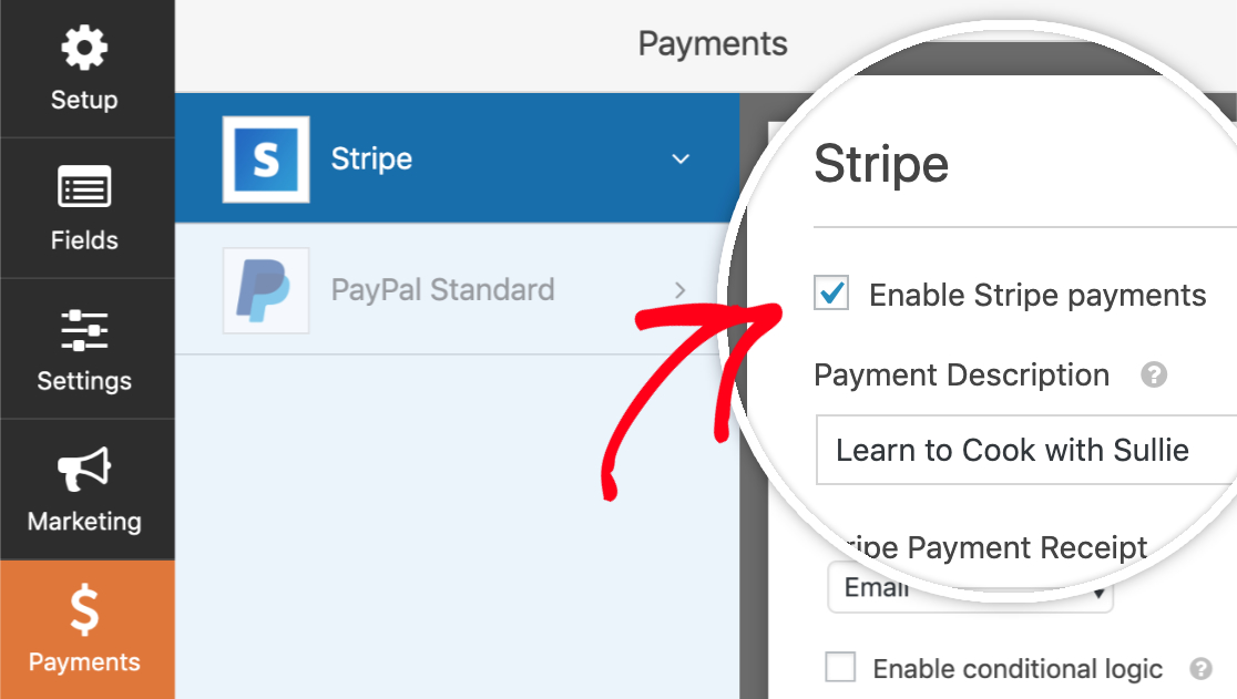 Enable stripe payments with WPForms | stripe addon with wpforms