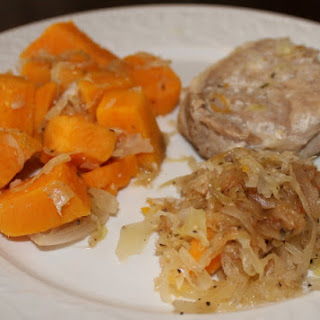 Slow Cooker Pork Chops and Sauerkraut with Sweet Potatoes