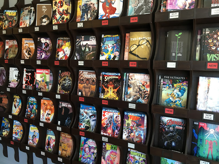 This week's latest, last week's back issue and a select set of other comics on display.