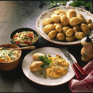 Potatoes with Tuna Salad, Scrambled Eggs and Cream Cheese Dip.