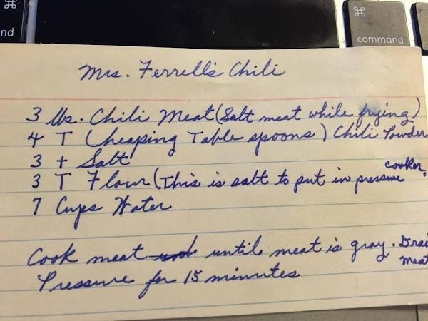 Mrs. Ferrell's Chili (modified) Recipe