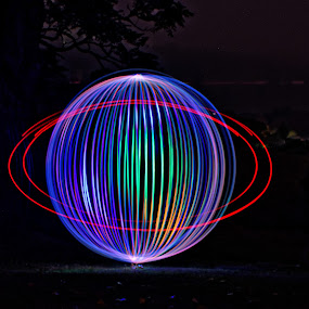 Great Orb by Burkhard Schlosser - Abstract Light Painting ( fairy magic light, glowing lights, magic light, orbs, light )