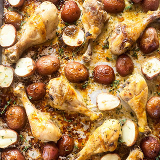 Baked Chicken Legs and Potatoes with Lemon and Herb Recipe