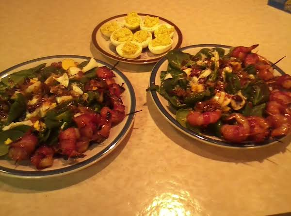Spinach Salad And Grilled Bacon Wrapped Shrimp