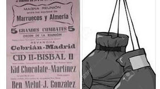 Cartel con Miguel Bisbal como púgil.