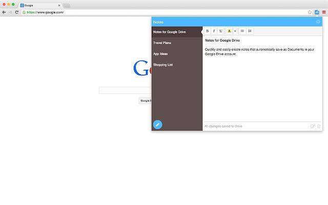 ملاحظات جوجل درايف
