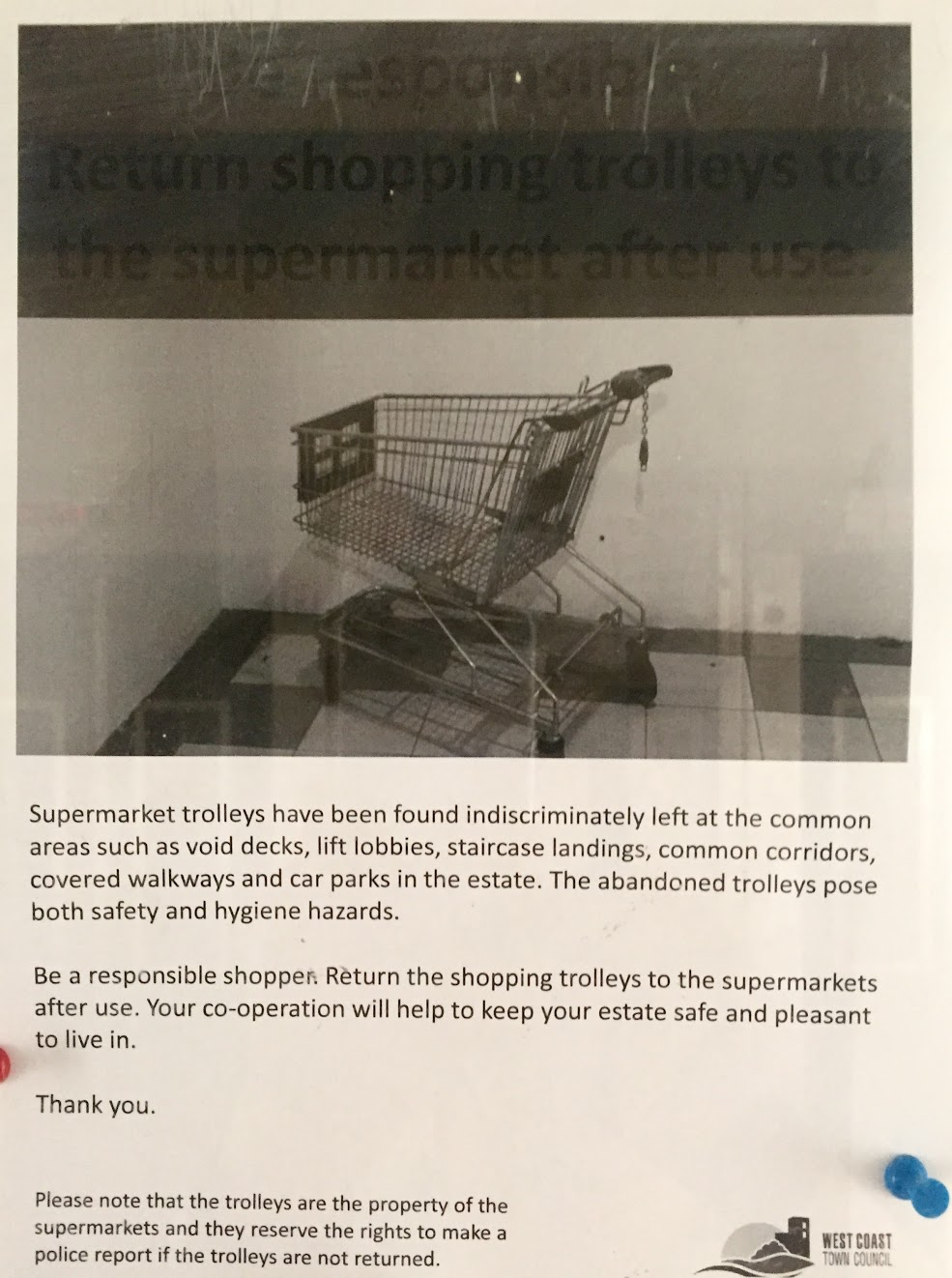 A notice about shopping cards abandoned in HDB void decks.