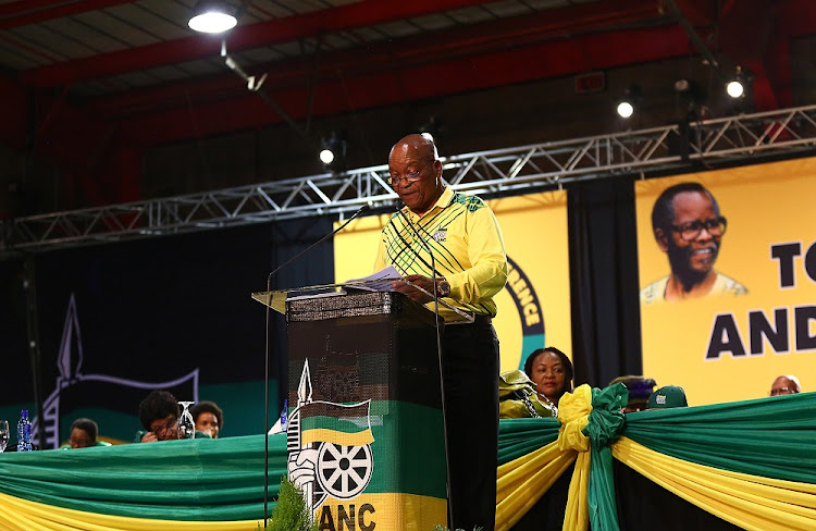 Former ANC President Jacob Zuma addresses delegates at the 54th ANC National Conference taking place in Nesrac.