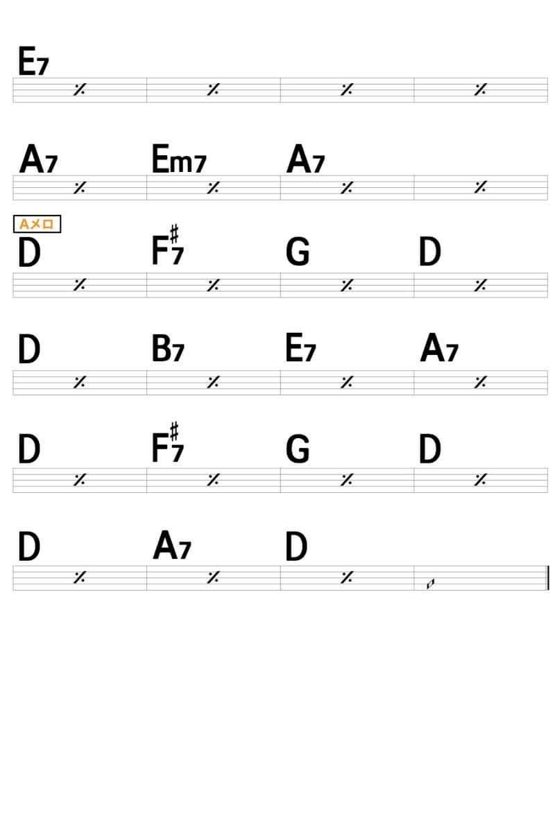 【練習用コード楽譜】 加山雄三「お嫁においで」/ギター初心者(入門者)向け簡単スコアの楽譜2