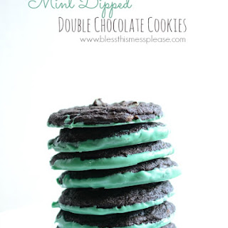 Mint Dipped Double Chocolate Cookies.
