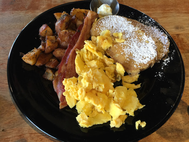 French toast eggs bacon potatoes