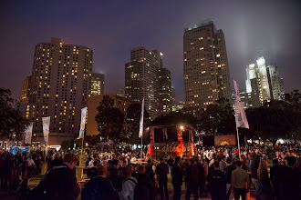 Photo: Reveling under the city lights of downtown SF.