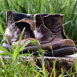Not all Those Who Wander are Lost by Tim Hall - Artistic Objects Clothing & Accessories ( shoes, hiking boots, cracked leather, worn leather, old leather, leather boots, worn boots, old boots, red wing boots, hike, boots, , #GARYFONGDRAMATICLIGHT, #WTFBOBDAVIS )