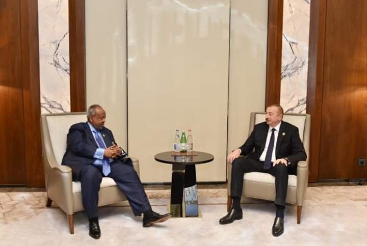 Djibouti President President Ismail Omar Guelleh and his Azerbaijan counterpart Illham Aliyev hold talks on the sidelines the 18th Summit of Heads of State and Government of the Non-Aligned Movement in Baku, Indonesia