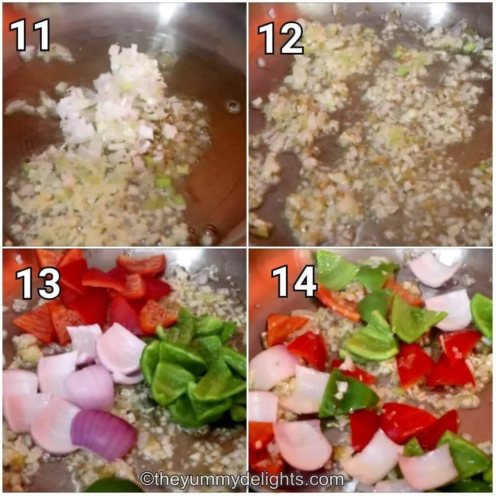 step by step image collage of stir-frying the ginger, garlic, onion and capsicum to make the manchurian gravy