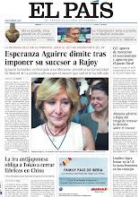 Photo: Esperanza Aguirre dimite tras imponer su sucesor a Rajoy, la ira antijaponesa obliga a Tokio a cerrar fábricas en China y la 'Champions' pone a prueba a un Madrid convulso, en la portada de la edición nacional del lunes 18 de septiembre de 2012 http://srv00.epimg.net/pdf/elpais/1aPagina/2012/09/ep-20120918.pdf