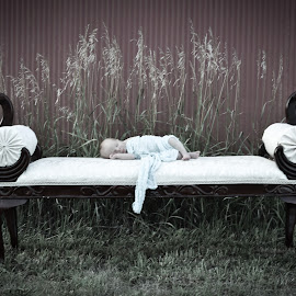 Baby on Bench by Becky Kauffman - Babies & Children Babies ( #baby, #bench, #oldstyle )