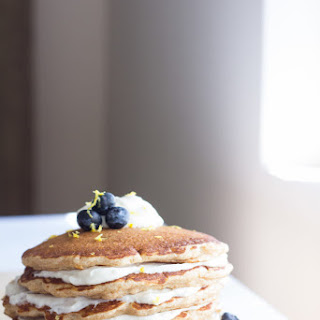 Whole Wheat Blueberry Cheesecake Pancakes.