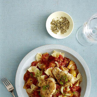 Farfalle with Tomato Ragout and Cod Medallions