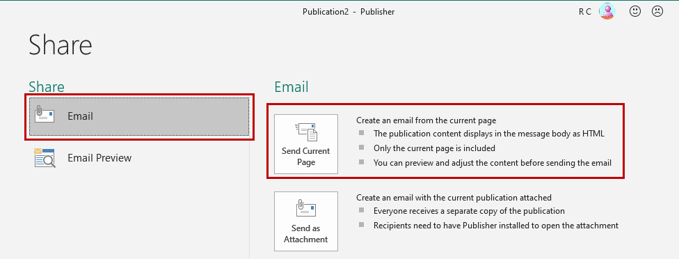 Creating an email from an .pub file