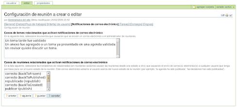 Photo: I18n y l10n al Español del producto PloneMeeting - Configuración de reunión - Editar opción Notificaciones de correo electrónico