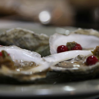 Oysters on the Half Shell with Pickled Serrano Peppers