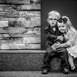 Hanging On The Altar by T Sco - Black & White Portraits & People ( child, altar, girl, wood, church, ring bearer, children, kids, stage, boy, wall, flower girl )
