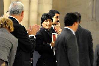 Photo: Bolivian President Evo Morales and Venezuelan Foreign Minister arriving at the prayer service for Hugo Chávez in New York.
