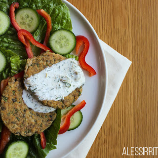 Dill and Chive Salmon Patties with a Dill and Caper Sauce.