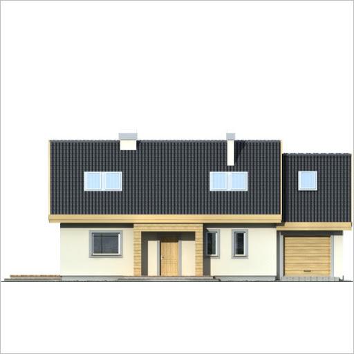 Adaś II wersja B z pojedynczym garażem - Elewacja przednia