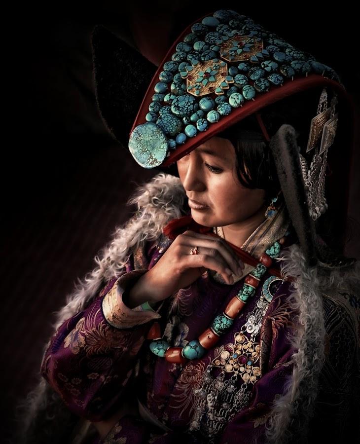Ladakhi Bride by Roman Mordashev - People Portraits of Women ( genre portrait, india, portrait, ladakhi woman in national full dress  ladakh )